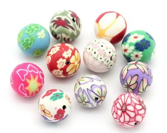 PF30 - Set of 10 polymer clay beads mix 6-8-12-13mm