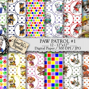Paw Patrol Digital Paper, Paw Patrol Party, seamless backgrounds, Scrapbooking Printable, Paw Patrol photography drops, 12 H Res 300 DPI