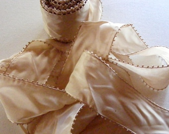 Antique 1920's French Picot Satin Ribbon 2 1/4 Inch Gorgeous Cafe Au Lait