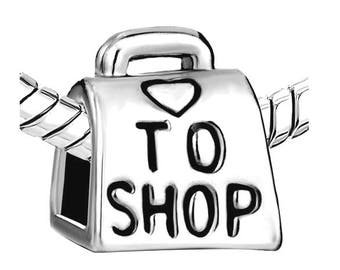 Silver Love to Shop Charm - Sterling Silver Shop Charm - Love Shopping Charm - Fits all Charm Bracelets - Christmas Gifts for Her