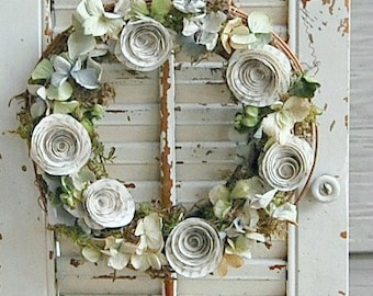 Dried Hydrangea and Paper Rose Wreath / Shabby Cottage Decor /  Dried flower Wreath