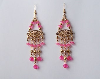 Hand Crafted Beaded Chandelier Earrings Pink Gold Tone French Hook Ear Wire 4 Inches