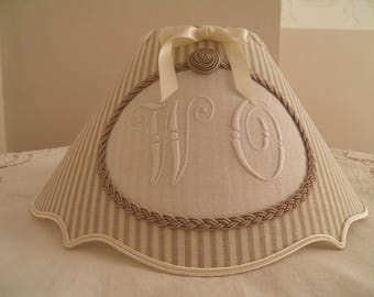Lampshade brace in linen with monogram is hand made in france