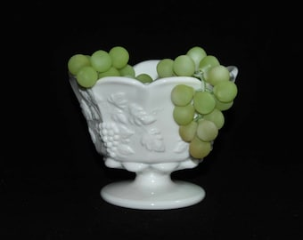 Westmoreland White Milk Glass Compote * Paneled Grape Pattern* Bridal Wedding Floral Centerpiece