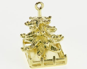 14K 3D Stylized Holiday Christmas Pine Tree Charm/Pendant Yellow Gold