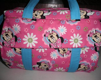 Diaper Bag & Changing Pad made with Minnie Mouse Disney Fabric