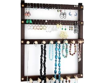 Earring Holder Wall Mount Jewelry Organizer Peruvian Walnut