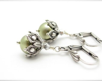 Green Peal Earrings Steampunk Boho Boheian, Silver Plated Earrings, Leverback Dangle Drop, Hawaiian Jewelry, Wedding Bridal Gift
