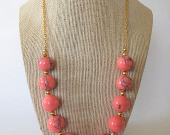 Coral Stone and Gold Statement Necklace