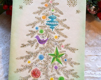 Vintage Christmas Card - Silver Glitter Tinsel Ornament Tree - Used Parchment