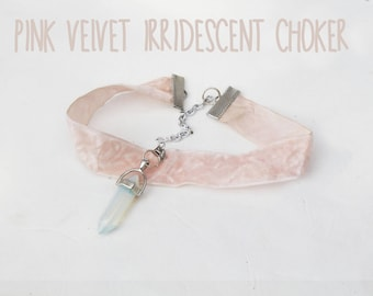 Pink Velvet Irridescent Opal Crystal Choker Necklace