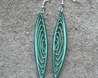 Long Green Paper Quilled Earrings - paper quilling earrings, green earrings, long earrings, ecofriendly earrings, paper earrings, for her