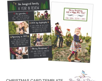 Year In Review Christmas Card Template - 5x7 Photo Card - Photoshop Template - INSTANT DOWNLOAD or Printable - YIR03