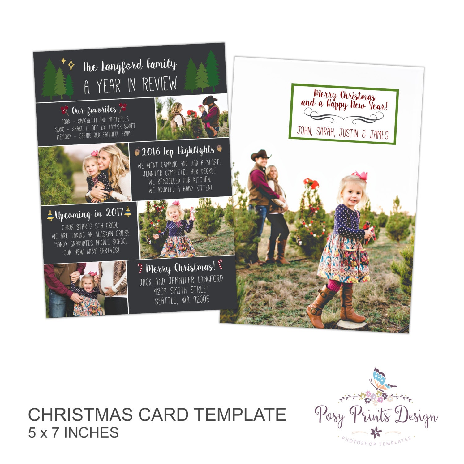 Year In Review Christmas Card Template 5x7 Photo Card
