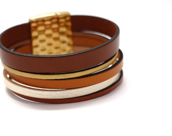 """""""Christopher"""" leather Cuff Bracelet gold silver and Brown"""