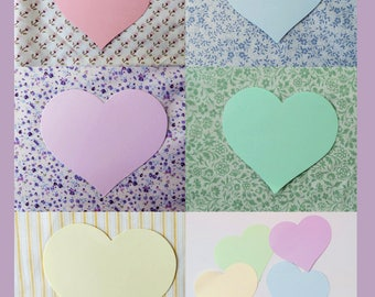 Extra large hearts 11.5 cm (4.5 ins) PASTEL COLOURS Weddings Cardmaking Bunting.