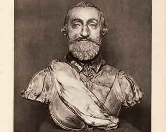 Henri IV Buste en cire colorée / Henri IV bust in colored wax / Versailles vue générale  / Versailles general view Vintage book plate