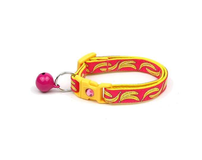 Fruit Cat Collar - Bananas on Pink - Small Cat / Kitten Size or Large Size