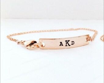 Rose Gold Bar Bracelet - Monogrammed Rose Gold - Hand Stamped Rose Gold - Rose Gold - Bar Bracelet - Initial Bracelets - Personalized