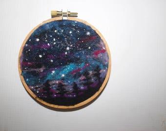 Starry Night, Needle Felting on 4 inch Embroidery Hoop, Wall Art, Outdoorsman Gift, Housewarming gift