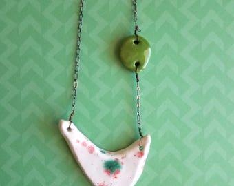 Poinsettia Splatter Ceramic Necklace