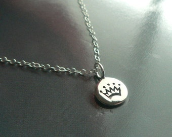 Tiny Crown sterling silver disk charm pendant necklace