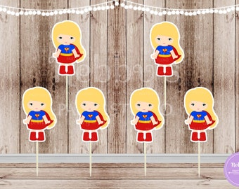 Action Superhero Girl Party - Set of 12 Supergirl Inspired Double Sided Cupcake Toppers