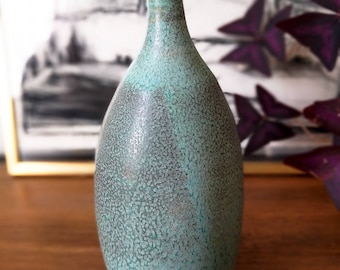 Blue Teal Gold Lip Ceramic Bottle, Pottery Vase, Housewarming Gift, Kintsugi, Wedding Gift, Home Decor, Ceramic Design, Gifts for Her Him