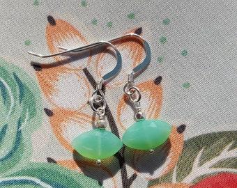 Green Chalcedony Earrings / Chalcedony / Earrings / Dangle Earrings / Sterling Silver / Gift For Her / Dyed Green Chalcedony Chrysoprase