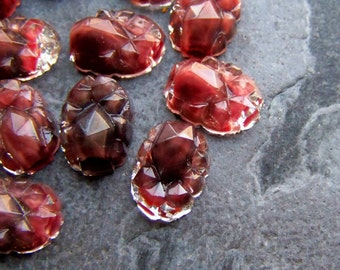 Mountain Top-Glass Cabochon-Givre Glass-Vintage Rare West German Givre Mountain Top Free Formed Glass Flat Backed Cabochon Stones-6 Cabs