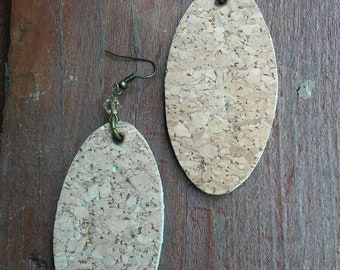 Cork earrings, cork jewelry, oval earrings, corkboard earrings