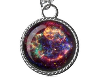 Nebula Necklace, Cassiopeia Necklace, Galaxy, Space Image Pendant Handmade