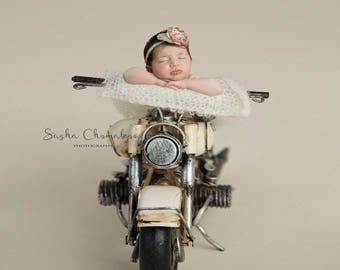 Digital background backdrop newborn baby boy or girl cream bike bone off white motorcycle