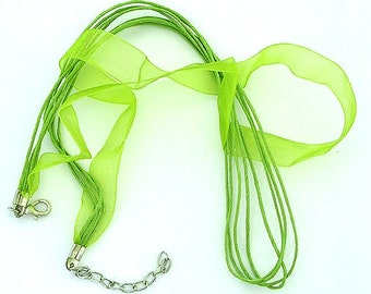 20 Green Organza Ribbon Waxed Cotton 16-18 Inch Adjustable Necklace Cords Jewellery Making