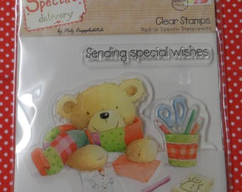 Special Delivery Clear Stamp Stamping Teddy Design Approx. 105mm x 70mm and 74mm x 12mm