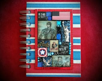 Captain America. Civil War. Avengers A6 Journal - Mixed Media Mosaic. Chris Evans. Steve Rogers.