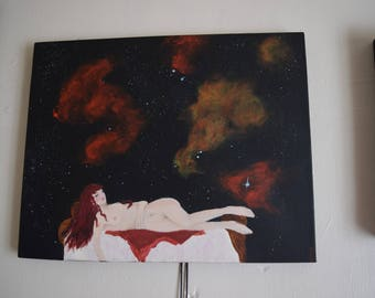 Venus in Slumber, Original Painting by Susi Southernwood (Renaissance/Venus in Furs/Space/Sleeping Women/Subconscious/ Magic)