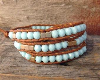 Mint/Gold Wrap Bracelet