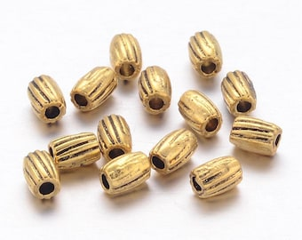200 Antique Gold Barrel Spacer Beads 3 x 4mm (B165f)