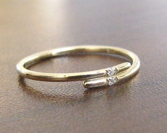 Thin Band Diamond Ring, 14k Gold Engagement Ring, Thin Wedding Band, Stacking Ring, Dainty Diamond Ring, Anniversary Ring