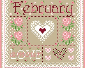 February Monthly Sampler Cross Stitch Chart PDF