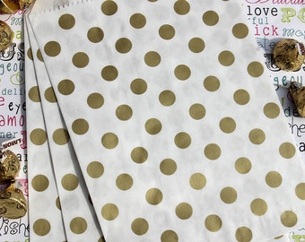 75 Gold Metallic Polka Dot Candy Bags, Gold Polka Dot Party Bags, Gold Wedding Favor Bags, Popcorn Bags, Gift Bags