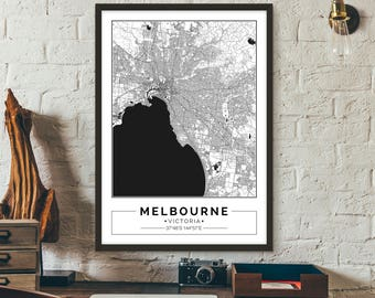 Melbourne, Victoria, Australia, City map, Poster, Printable, Print, Street map, Wall art