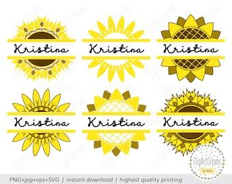 Split Sunflower Monogram SVG Frame Cut Files for Cricut Silhouette Studio DXF Cut File Split Sunflower Monogram Frame instant download