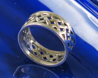 Sterling Silver Basket Weave Ring, Size 6 3/4,  Sterling Silver Wedding Ring, Sterling Silver Southwest Basket Weave Ring Gift, Size 6 3/4