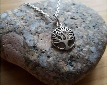 Pendant necklace tree of life 13 mm silver chain 40 or 45 cm
