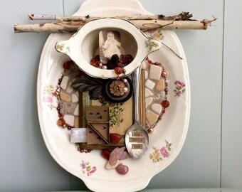 Fly Little One, Assemblage Art, Altered Art, Vintage Platter, Vintage Finds, Baby Photo, Mosaic Art