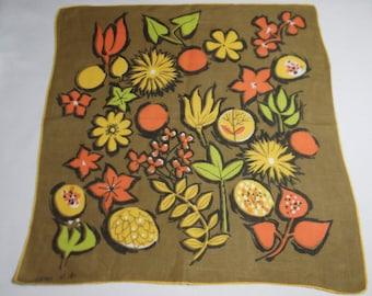 Vintage Jeanne Miller Retro Foliage And Flowers Handkerchief