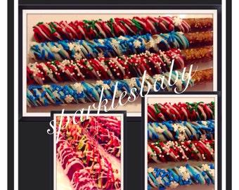 Christmas chocolate covered pretzels - Set of 12  holiday chocolate covered pretzels