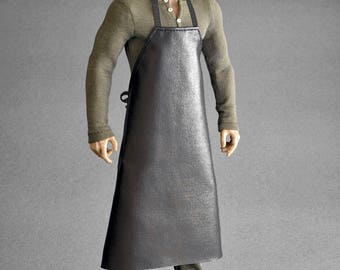 1/6th scale black apron for: collectible action figures and male fashion dolls